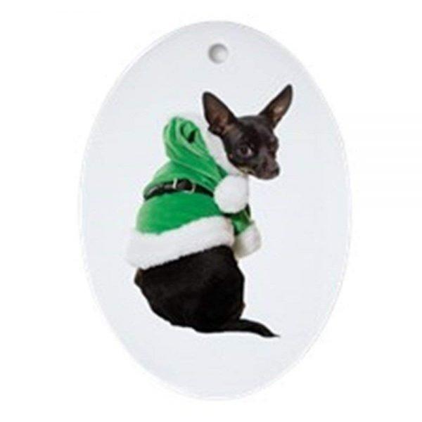 CafePress Santa Chihuahua Ornament (Oval) Oval Holiday Christmas Ornament