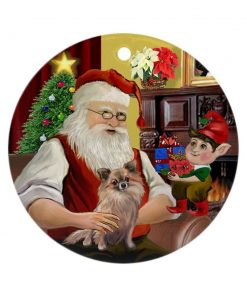 CafePress Santa & His Long Haired Chihuahua Ornament (Ro Round Holiday Christmas Ornament