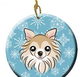 Caroline's Treasures BB1685CO1 Snowflake Chihuahua Ceramic Ornament, Multicolor