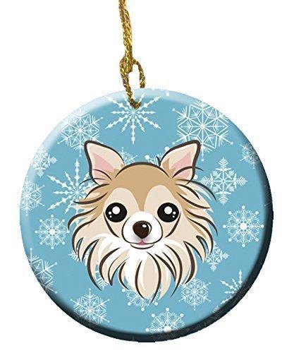 Caroline's Treasures BB1685CO1 Snowflake Chihuahua Ceramic Ornament, Multicolor