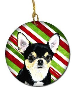 Caroline's Treasures SC9359-CO1 Chihuahua Candy Cane Holiday Christmas Ceramic Ornament, Multicolor