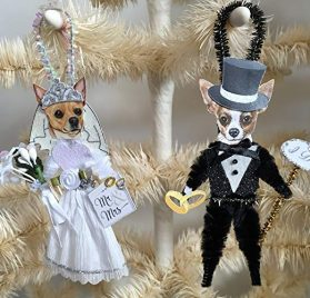 Chihuahua BRIDE & GROOM WEDDING ORNAMENTS Vintage Style Chenille Ornaments Set of 2