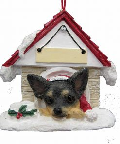 "Chihuahua Black and Tan Ornament A Great Gift For Chihuahua Owners Hand Painted and Easily Personalized ""Doghouse Ornament"" With Magnetic Back"