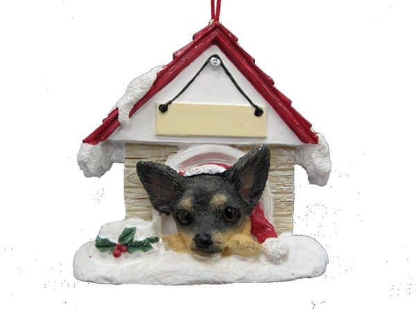 """Chihuahua Black and Tan Ornament A Great Gift For Chihuahua Owners Hand Painted and Easily Personalized """"Doghouse Ornament"""" With Magnetic Back"""