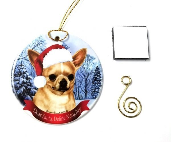 "Chihuahua, Fawn Christmas Ornament 3"" Porcelain Gift-Boxed with Tree Hook and Magnet Pet Holiday Decoration Bundle by Imprints Plus (HO 070)"