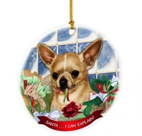 Chihuahua Fawn Santa I Can Explain Happy Howliday Round White Porcelain Hanging Ornament