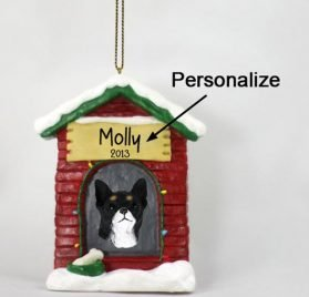 Chihuahua Personalizable Dog House Christmas Ornament Black-White - Hand Painted - Delightful