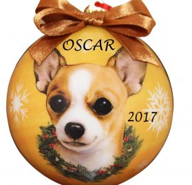 Chihuahua, Tan Color Shatter Proof Christmas Ball Ornament with Ribbon - Personalized Christmas Dog Ornament