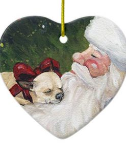 Chihuahua and Santa Dog Art Christmas Heart Porcelain Ornament Gift 3""