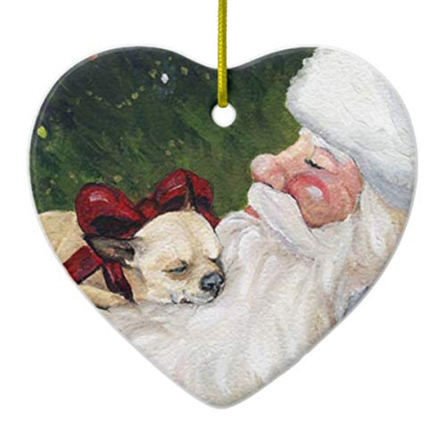 "Chihuahua and Santa Dog Art Christmas Heart Porcelain Ornament Gift 3"""