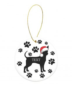 Christmas Dog Gifts Custom Text or Date Chihuahua Gifts Personalized Round Ceramic Ornament Dog