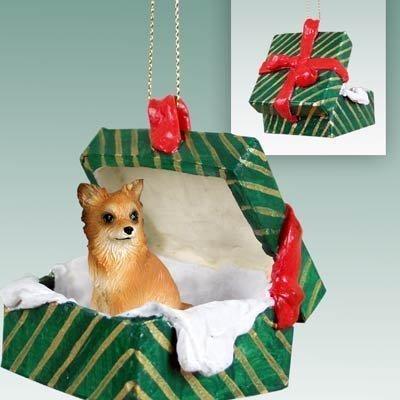 Conversation Concepts Chihuahua Green Gift Box Dog Ornament - Longhair