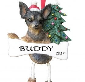 Dangling Legs Dog Ornament - Chihuahua Black Color with Dangling Legs with Red Santa Hat Hand Painted Personalized Christmas Ornament