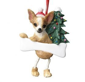 Dangling Legs Dog Ornament - Chihuahua Tan Color with Dangling Legs with Red Santa Hat Hand Painted Personalized Christmas Ornament 2