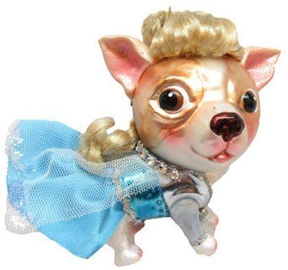 December Diamonds Blown Glass Ornament - Princess Elsa Chihuahua