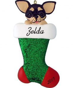 """Dog in Stocking Personalized Christmas Ornament (Black Chihuahua) - Resin - Handpainted - 4"""" tall - Customize for Free Add Name and the Year"""