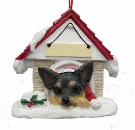 Doghouse Ornament - Chihuahua, Black Color Ornament Hand Painted and Personalized Christmas Doghouse Ornament with Magnetic Back 2