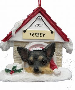Doghouse Ornament - Chihuahua, Black Color Ornament Hand Painted and Personalized Christmas Doghouse Ornament with Magnetic Back