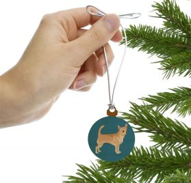 GRAPHICS & MORE Chihuahua Dog Pet Drawing Mini Small Tiny Wood Christmas Tree Holiday Ornament 2