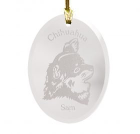 GiftsForYouNow Dog Breed Personalized Glass Christmas Ornament, Chihuahua