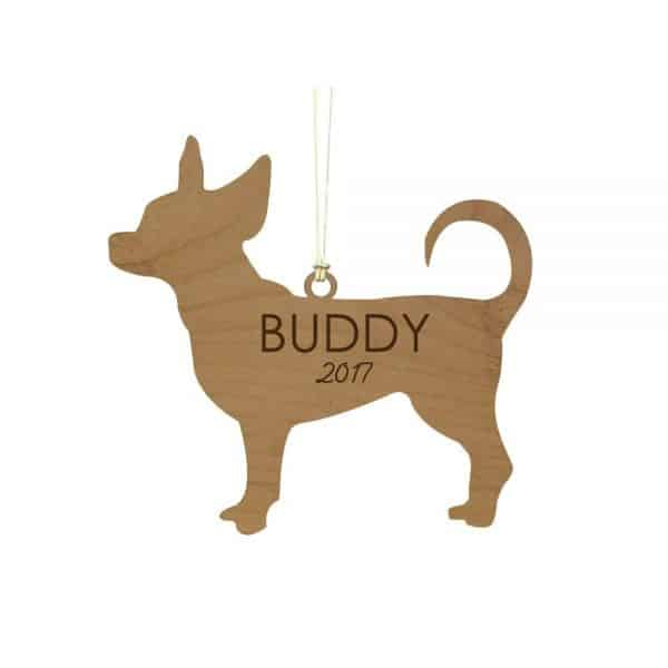 GiftsForYouNow Engraved Chihuahua Wood Cut Ornament
