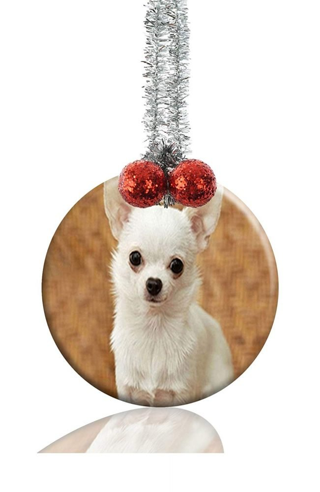 Guojew CHIHUAHUA DOG CUTE Custom Crafts Round Porcelain Christmas  Decorations Home Hanging Jewelry Gift Souvenir - Guojew CHIHUAHUA DOG CUTE Custom Crafts Round Porcelain