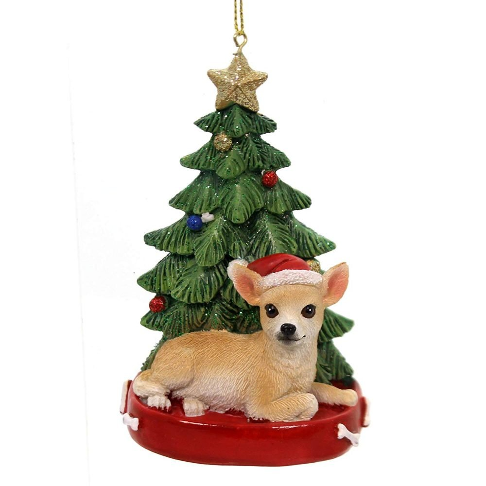 Christmas Tree Gates For Dogs: Holiday Ornaments Dog With Tree Ornament Polyresin Gold Star