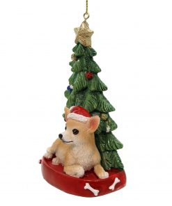 Holiday Ornaments Dog with Tree Ornament Polyresin Gold Star C7954 Chihuahua 2