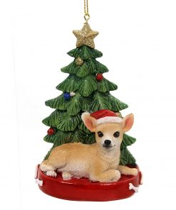 Holiday Ornaments Dog with Tree Ornament Polyresin Gold Star C7954 Chihuahua