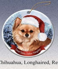 Holiday Pet Gifts Chihuahua Longhaired Red Santa Hat Dog Porcelain Ornament