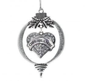 Inspired Silver Chihuahua Mom Pave Heart Holiday Christmas Tree Ornament With Crystal Rhinestones
