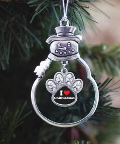 Inspired Silver I Love Chihuahuas Pave Paw Charm Snowman Holiday Christmas Tree Ornament 2