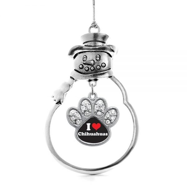 Inspired Silver I Love Chihuahuas Pave Paw Charm Snowman Holiday Christmas Tree Ornament