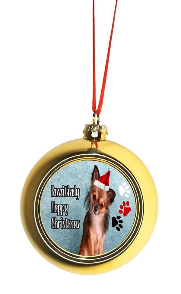 Jacks Outlet Ornament Dog - Chihuahua in a Santa Claus Hat - Pawsitively Merry Christmas - Gold Bauble Christmas Ornament Balls