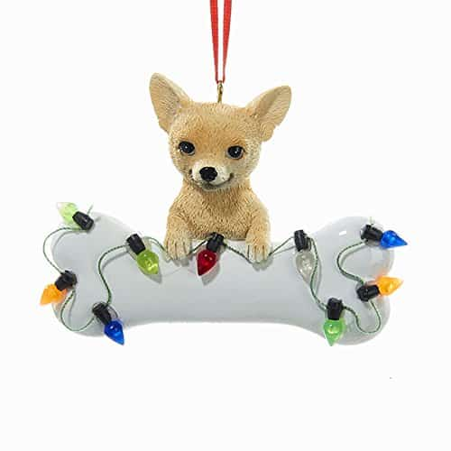 "Kurt Adler 2 75"" Resin Chihuahua With bone Ornament"