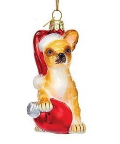 "Kurt Adler 3 5"" Glass Chihuahua W c7 Bulb Ornament"