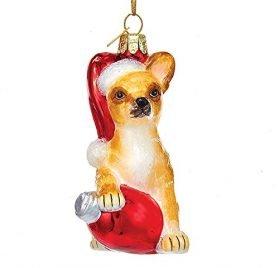 "Kurt Adler 3 5"" Glass Chihuahua W c7 Bulb Ornament"