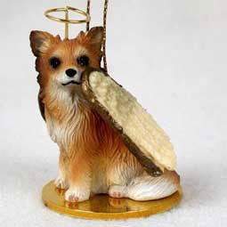 Longhaired Chihuahua Angel Ornament (Tan and White)