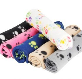 MarJunSep Lovely Pet Paw Prints Fleece Blankets for Dogs Cats Animals 2