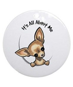 Moira Holiday Ornaments for Xmas Tree Tan Chihuahua IAAM Round Craft Gift Ceramic Ornament Decorations BH585691