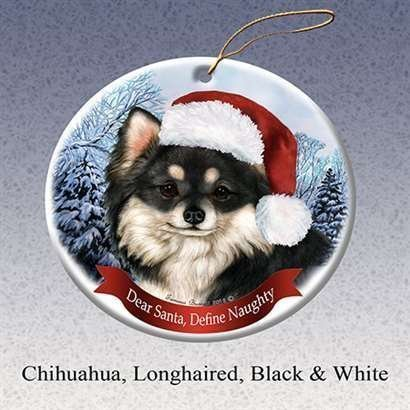 Moira Holiday Pet Gifts Chihuahua Longhaired Black & White Santa Hat Dog Porcelain Christmas Tree Ornament BH566192
