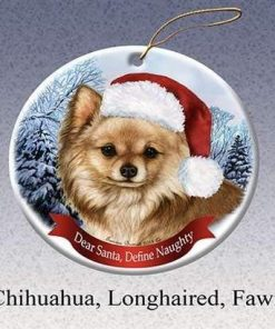 Moira Holiday Pet Gifts Chihuahua Longhaired Fawn Santa Hat Dog Porcelain Christmas Tree Ornament BH420415