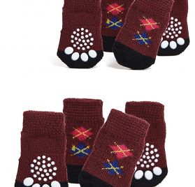 Nothing But Love Pets Toy Small Dog Non Slip 2 sock packs (8 pcs) For Yorkie Pom Maltese Chihuahua (Very Small Size, maroon, dark brown, argyle)