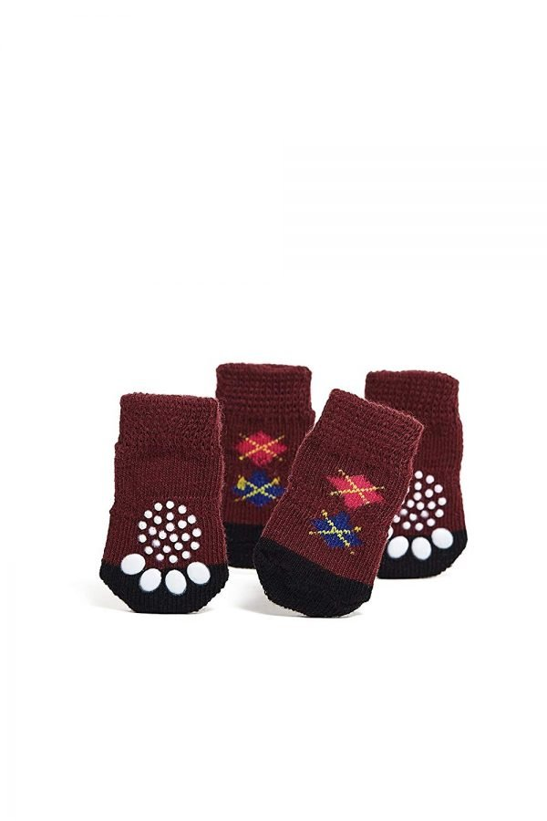 Nothing But Love Pets Toy Small Dog Non Slip 2 sock packs (8 pcs) For Yorkie Pom Maltese Chihuahua (Very Small Size, maroon, dark brown, argyle) 3