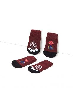 Nothing But Love Pets Toy Small Dog Non Slip 2 sock packs (8 pcs) For Yorkie Pom Maltese Chihuahua (Very Small Size, maroon, dark brown, argyle) 4