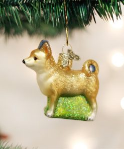 "Old World Christmas 2.75"" Chihuahua Dog Glass Ornament #12281 2"