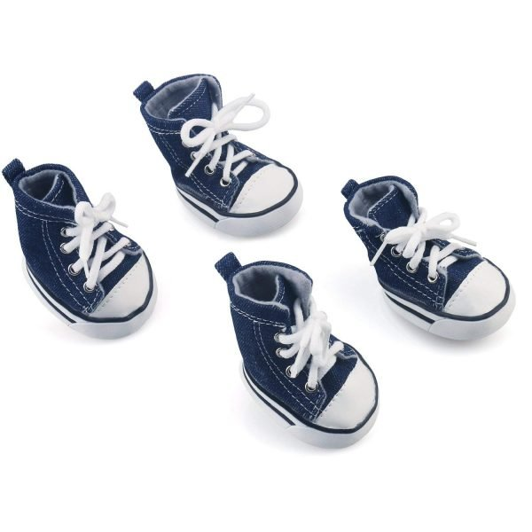 Pet Dog Shoes, RilexAwhile Cowboy Nonslip Puppy Sport Denim Blue Casual Dog Canvas Sneaker Paw Protector for Small Dogs Chihuahua Yorkie Doggies