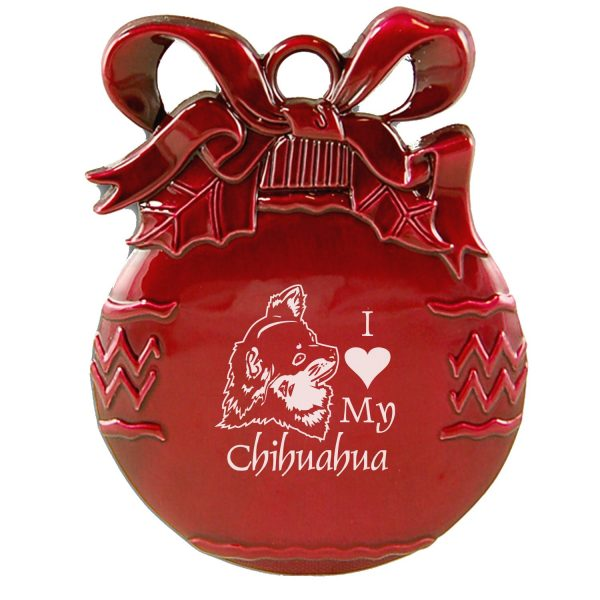 Pewter Christmas Tree Ornament-I love my Chihuahua-Red