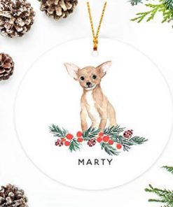 QMSING Chihuahua Christmas Ornament with Holly Berry Branch