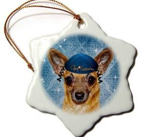 QMSING Chihuahua in a Yarmulke Chanukah Funny Dog in Blue Snowflake Ornament, 3 BH571792
